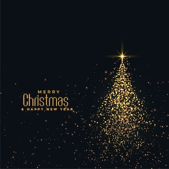 Bellissimo albero di Natale lucido fatto con particelle d'oro