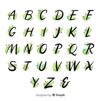 Bellissimo alfabeto con fiori