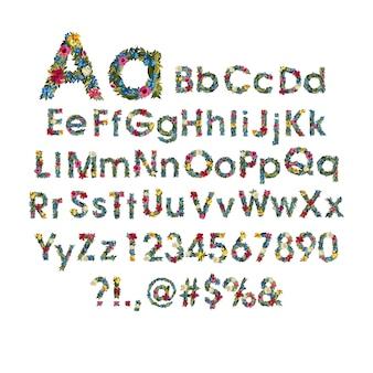 Bellissimo alfabeto floreale con fiori.