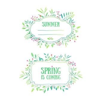 Bellissimo banner, carta, invito o etichetta. sfondo primavera ed estate