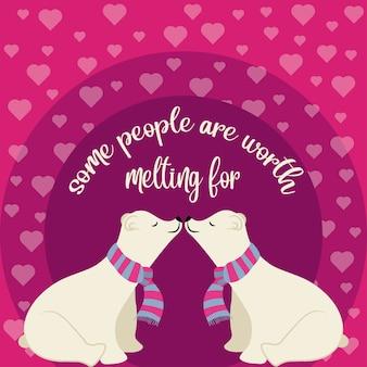 Bellissimo banner con orsi polari in amore