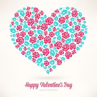 Bellissimo biglietto per san valentino con un cuore di rose rosa e foglie turchesi
