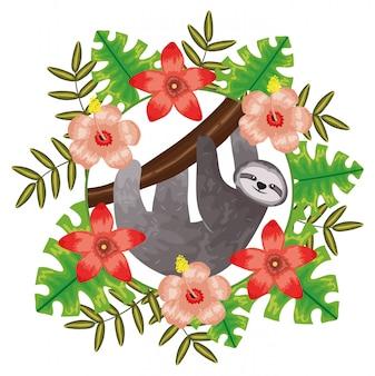 Bellissimo bradipo con decorazione floreale tropicale