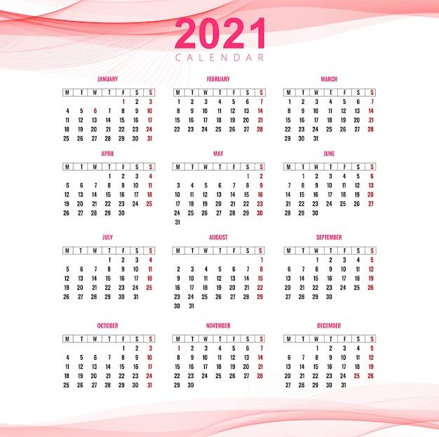 Bellissimo calendario aziendale 2021 per sfondo onda