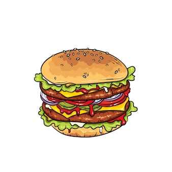 Bellissimo cheeseburger realistico. illustrazione fast food.