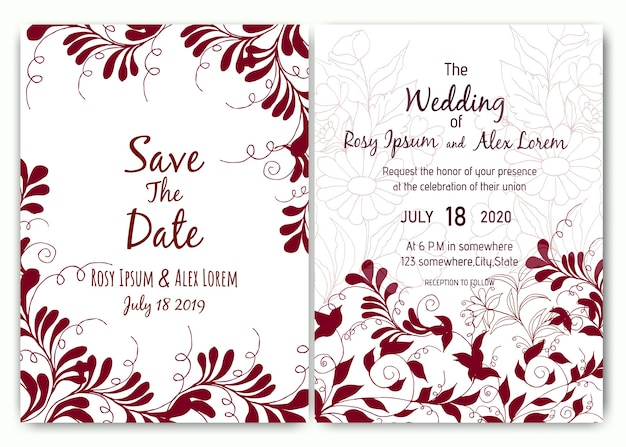 Bellissimo design della carta di nozze