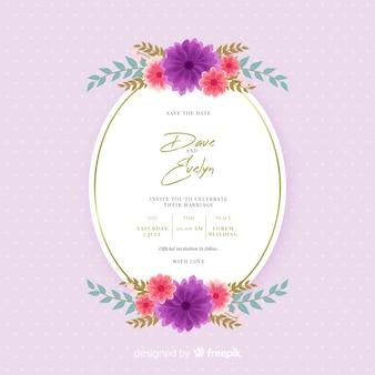 Bellissimo design piatto di invito a nozze cornice floreale