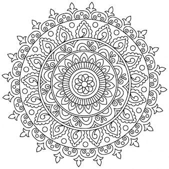 Bellissimo disegno mandala floreale, elemento decorativo ornamentale creativo in forma di cerchio.