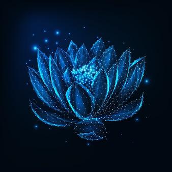 Bellissimo fiore di loto poli basso incandescente su blu scuro.