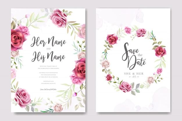 Bellissimo invito a nozze con fiori e foglie