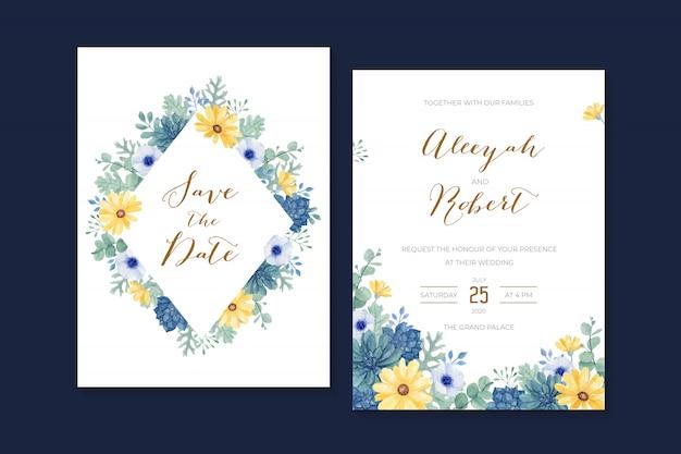 Bellissimo invito a nozze con margherita gialla dipinta a mano ad acquerello, succulenta, anemone, eucalipto.