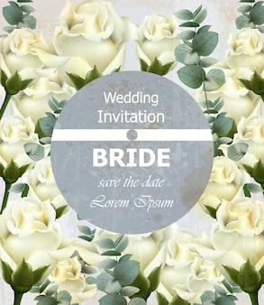 Bellissimo invito a nozze con rose bianche