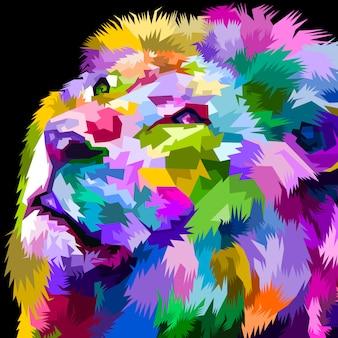 Bellissimo leone colorato rivolto verso l'alto