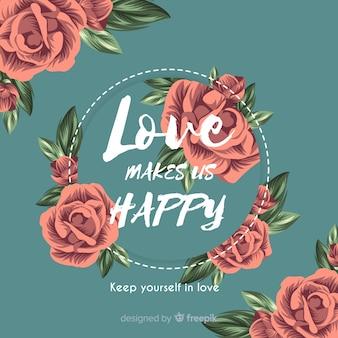 Bellissimo messaggio romantico con fiori