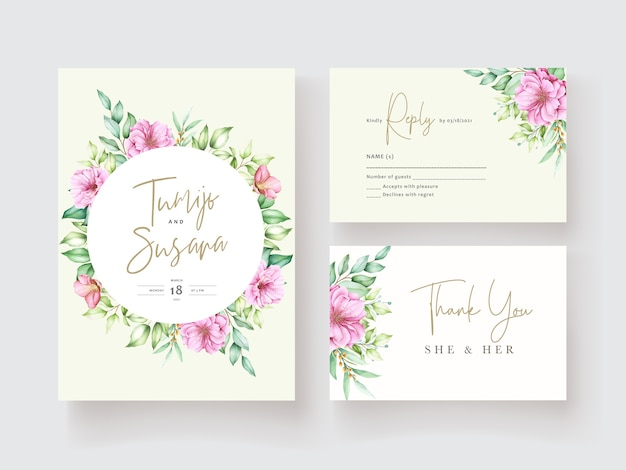 Bellissimo modello di carta di invito floreale