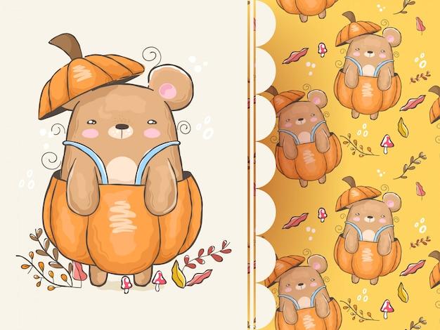Bellissimo orso all'interno della zucca con sfondo pattern