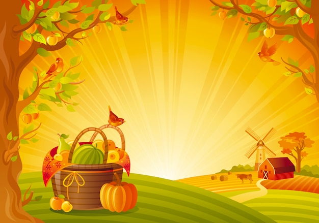 Bellissimo paesaggio autunnale. campagna autunnale con cesto picinic e zucca. illustrazione di vettore del festival del ringraziamento e del raccolto.