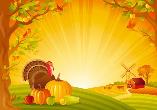 Bellissimo paesaggio autunnale. campagna autunnale con tacchino e zucca. illustrazione di vettore del festival del ringraziamento e del raccolto.
