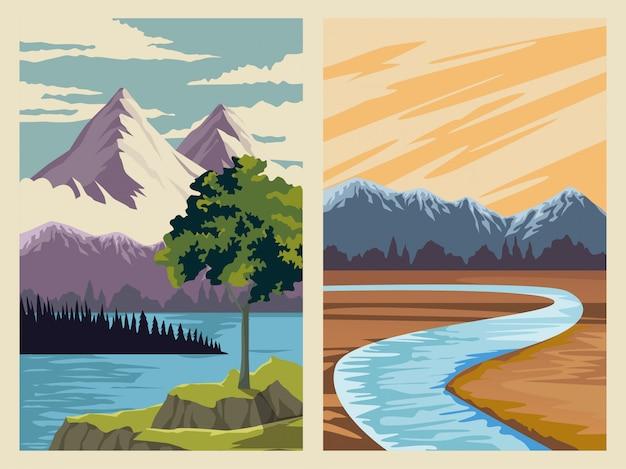 Bellissimo paesaggio con scena di lago e montagna