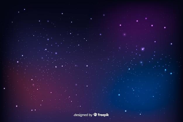 Bellissimo paesaggio cosmico con sfondo di stelle sfocate