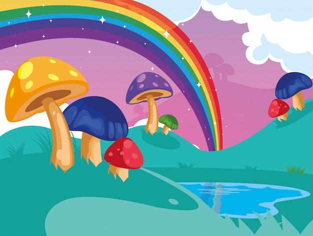 Bellissimo paesaggio da favola con funghi e arcobaleno