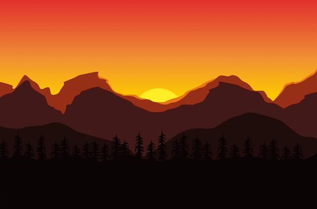 Bellissimo paesaggio del tramonto in montagna