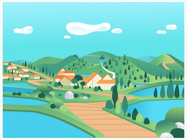Bellissimo paesaggio di campagna con montagne, colline, lago, case e illustrazione di strada. utilizzato per poster, immagine del sito web, informazioni grafiche e altro