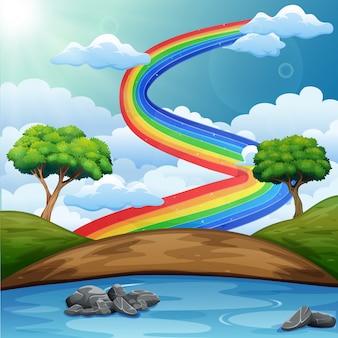 Bellissimo paesaggio fluviale con arcobaleno
