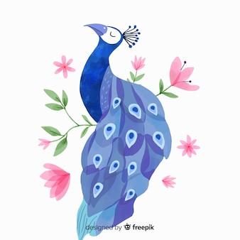 Bellissimo pavone in stile acquerello