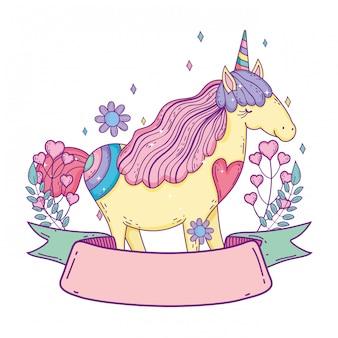 Bellissimo piccolo unicorno con fiori e cornice del nastro