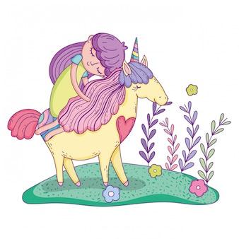 Bellissimo piccolo unicorno con la principessa nel paesaggio