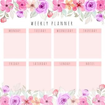 Bellissimo planner settimanale con acquarello floreale