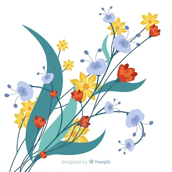 Bellissimo ramo floreale in design piatto