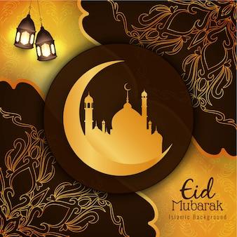 Bellissimo saluto di eid mubarak alla moda