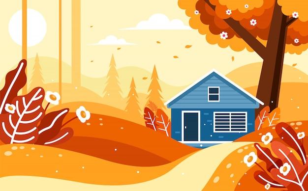 Bellissimo scenario autunnale con una casa nella foresta
