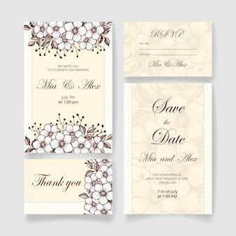 Bellissimo set di inviti di nozze (salva la data card, la carta rsvp, la carta di ringraziamento) con fiori, foglie e rami dorati. invito a nozze felice. ideale per cerimonia di matrimonio e buon matrimonio!