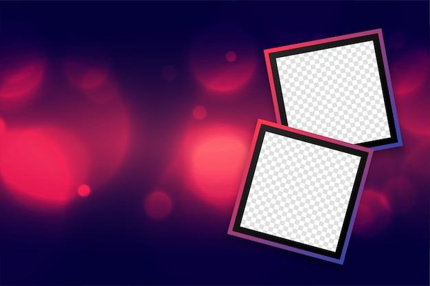 Bellissimo sfondo di cornici fotografiche con design effetto bokeh