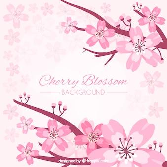 Bellissimo sfondo di fiori di ciliegio in design piatto