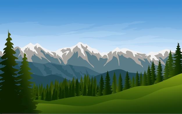 Bellissimo sfondo di montagna e pineta