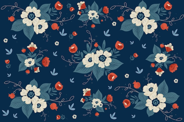 Bellissimo sfondo floreale piatto su sfumature blu