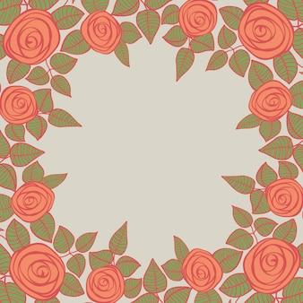 Bellissimo sfondo incorniciato con rose