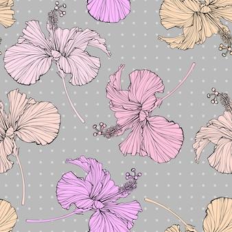 Bellissimo sfondo motivo floreale senza soluzione di continuità. l'ibisco fiorisce il fondo di colore muto.