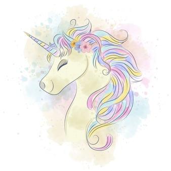 Bellissimo unicorno ad acquerello.