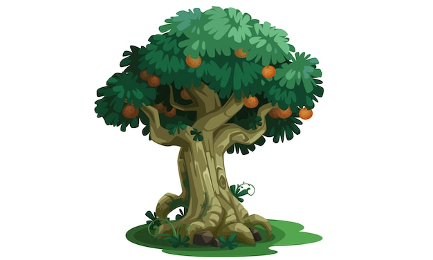 Bello albero con arte di concetto di frutti
