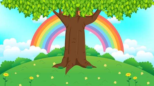 Bello albero su erba verde con l'illustrazione dell'arcobaleno