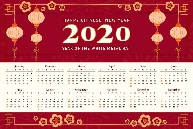 Bello calendario cinese di nuovo anno nella progettazione piana