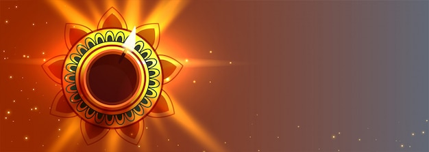 Bello diwali diya accende l'insegna della lampada con lo spazio del testo