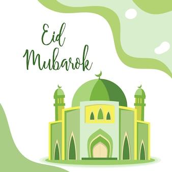 Bello eid mubarok con l'illustrazione verde della moschea, cartolina d'auguri islamica del modello