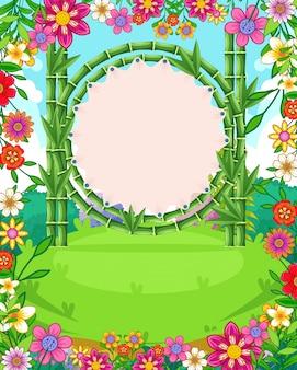 Bello fondo del giardino con i fiori e il vettore in bianco del bambù del segno