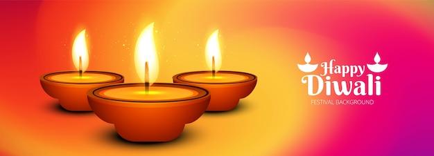 Bello fondo dell'intestazione di festival della lampada a olio di diya di diwali